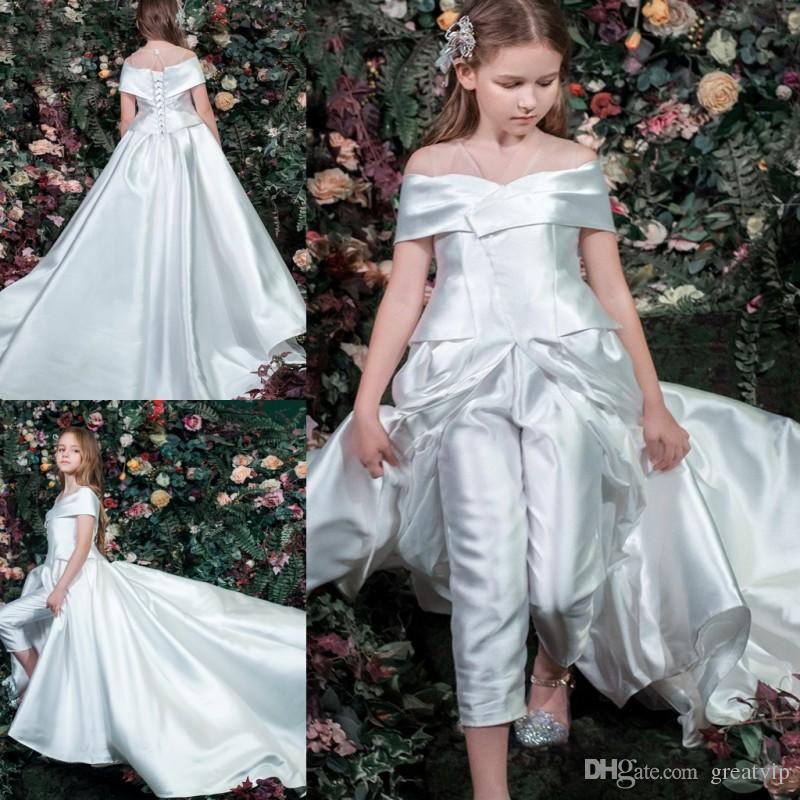 3f3cf03c0cf 2019 Flower Girl Dresses Jumpsuits Satin Sweep Train Off The Shoulder Pants  Kids Bridesmaid Gowns Robes De Fête Flower Girl Dresses With Lace Flower  Girl ...