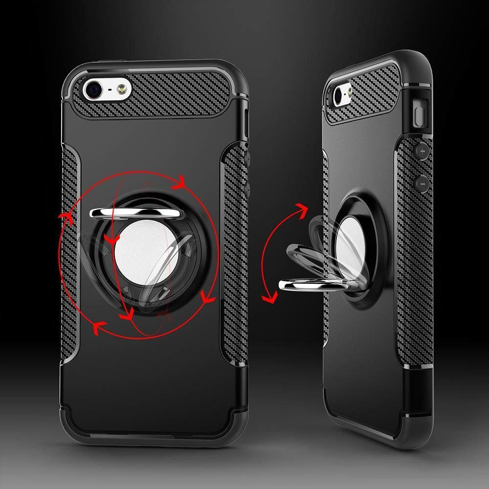 buy online e6ba6 c554d For iPhone 5s 5 SE Car Magnetic Phone Holder Finger Ring TPU PC Cover for  Apple iPhone 5 5s SE Phone Case back cover