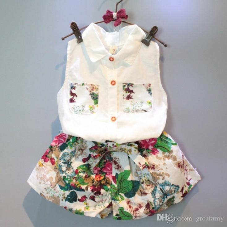 Baby girls outfits sleeveless shirts+floral shorts children outfits kids boutiques clothing set girl summer suit