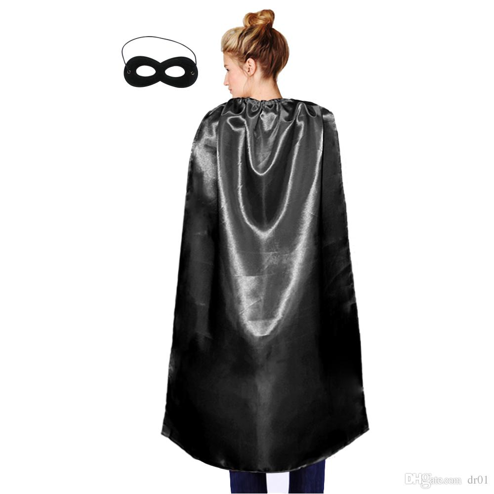 adult size 110cm * 70cm plain satin party costume wholesale superhero cosplay cape with mask holiday party favor clothing