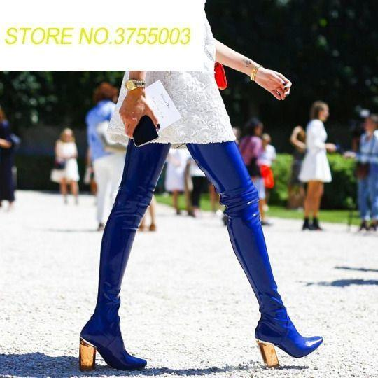 f4f41e24dbd 2018 Super Hot Blue Patent Leather Women Sexy Thigh High Boots Pointy Toe  Colorful Crystal Chunky Heel Knight Boot Over The Knee Office Shoes High  Heels ...
