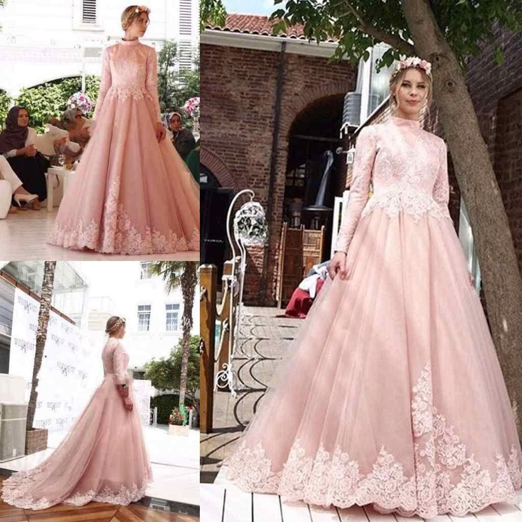 3a5befa77ae Discount Graceful Pink Muslim Wedding Dresses High Neck Long Sleeve Lace  Appliques Latest Bridal Dresses Unique Design Elegant Wedding Gowns Wedding  Dresses ...