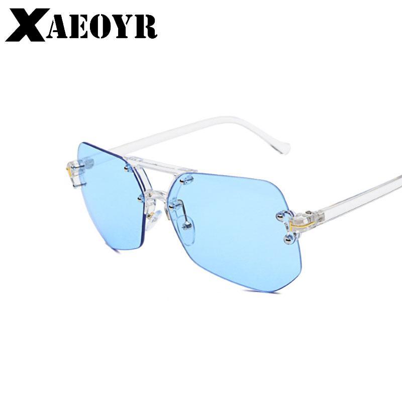 Compre XAEOYR Azul Lente Amarela Óculos De Sol Dos Homens Do Sexo Feminino  Quadro Transparente Irregular Rosa Sem Aro Óculos De Sol Para As Mulheres  Da ... be5291110a