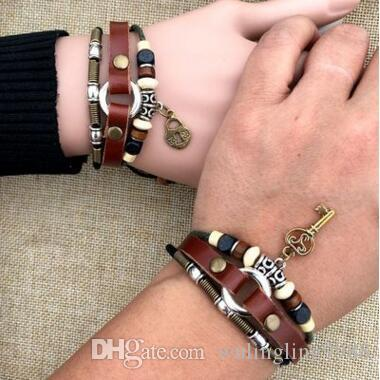 33ce22a1a4478 Key and Lock Bracelet Cow Real Leather Bracelets for Lover Men and Women  Weave Leather Bracelet Couple Bracelets Lock Key Bangle