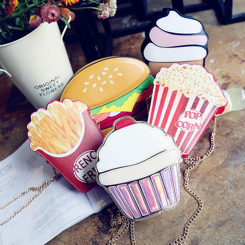 1f5899f33b 2018 Creative Style Woman Hamburger Ice Cream Cupcake PU Chains Bags Cute  Cartoon Hamburger Popcorn Fries 3D Messenger Bags Fashion Bags Leather Bags  For ...
