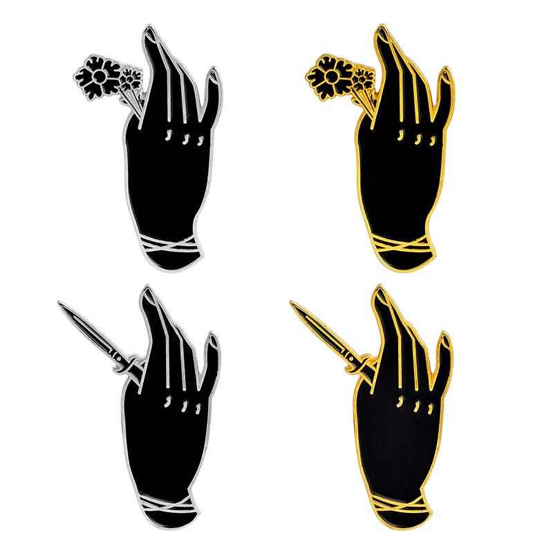 Punk Beauty Hand Holding Rose And Dagger Brooches 4pcs/set Enamel Pins  Backpack Denim jacket Shirt Pin Button Badge Jewelry Gift