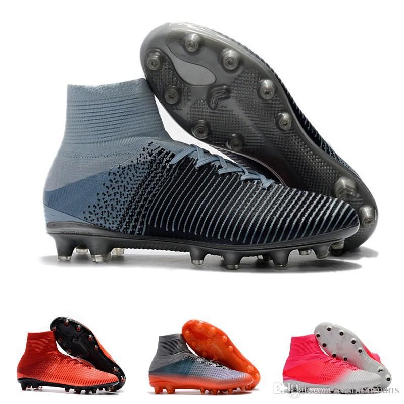 30f175126e4 Mens Mercurial Superfly CR7 V AG Football Boots Ronaldo High Ankle Magista  Obra II ACC Soccer Shoes Neymar JR Phantom Soccer Cleats Football Shoes ...