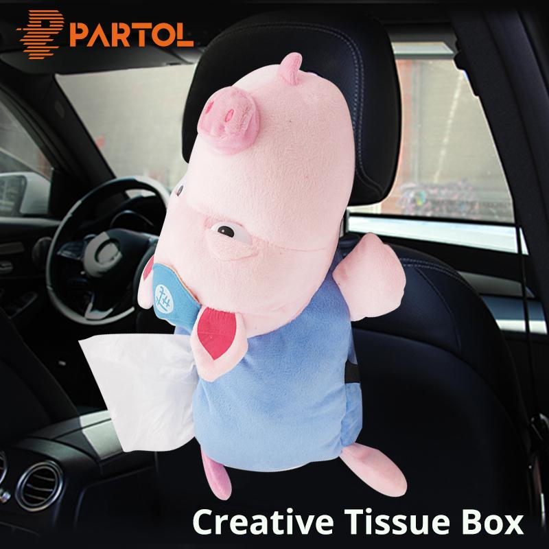 Partol Home Office Car Tissue Box Car Sun Visor Tissue Paper Holder Cute Cartoon Wrap Seat Back Hanging Napkin Container 4 Style
