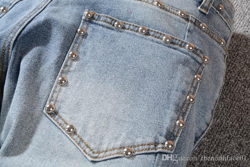 Balmain New Fashion Jeans strappati uomo sfilacciato uomo distrutto Slim biker pantaloni skinny jeanscasual lavati tute bule colore swag pantaloni