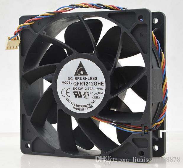 델타 QFR1212GHE QFR1212GHE-PWM 4P 12V 2.7A 12038 서버 냉각 팬 74Y5220 Bitcoin Miner 용 120 * 120 * 38mm