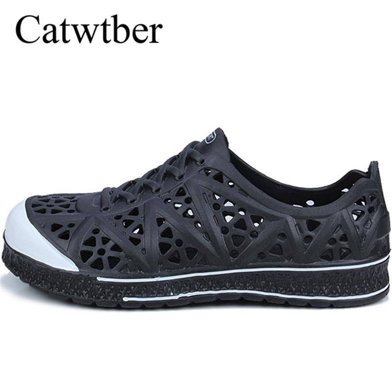 Catwtber Summer Men S Garden Clogs Sandals Hollow Out Beach Breathable  Sandals Light Casual Shoes Soft Comfortable Water Slipper Black Wedges  Platform Shoes ... e21a7facb80