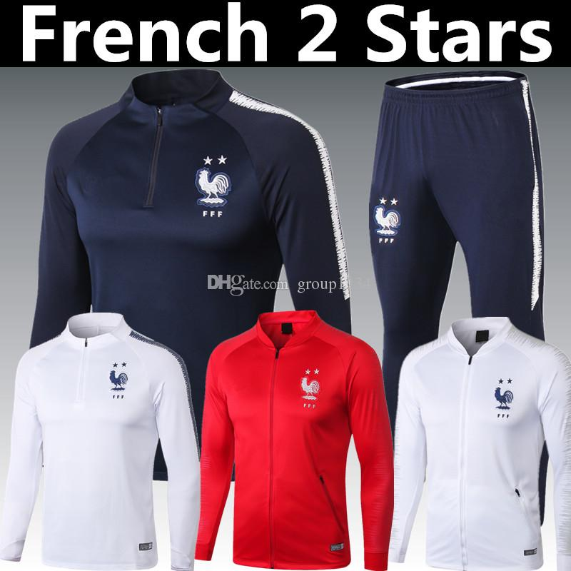 5c768c7aa 2019 2018 French 2 Stars Thailand GRIEZMANN MBAPPE POGBA Blue Long Sleeve Tracksuit  2018 19 World Cup Champion DEMBELE KANTE Red NEW Suit Jacket From ...