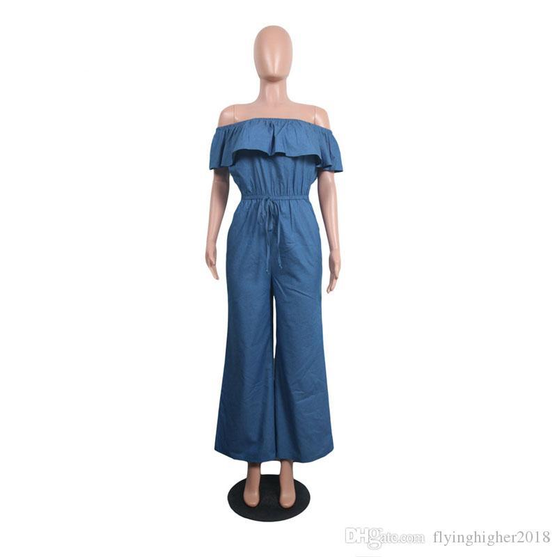 Off Shoulder Casual Wide Leg Jumpsuit Women Slash Neck Ruffles Denim Overall Summer Short Sleeve Backless Loose Romper