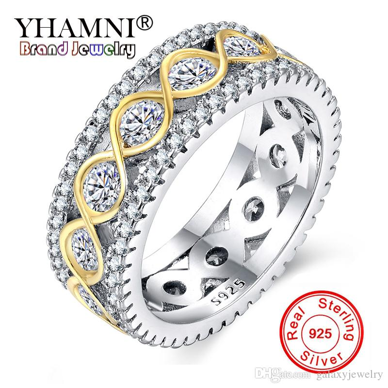 433f1e006e4e6 YHAMNI 100% Real Solid 925 Silver Rings For Women Small CZ Surround Fashion  Golden Zircon Jewelry Wedding Rings Wholesale RA0148