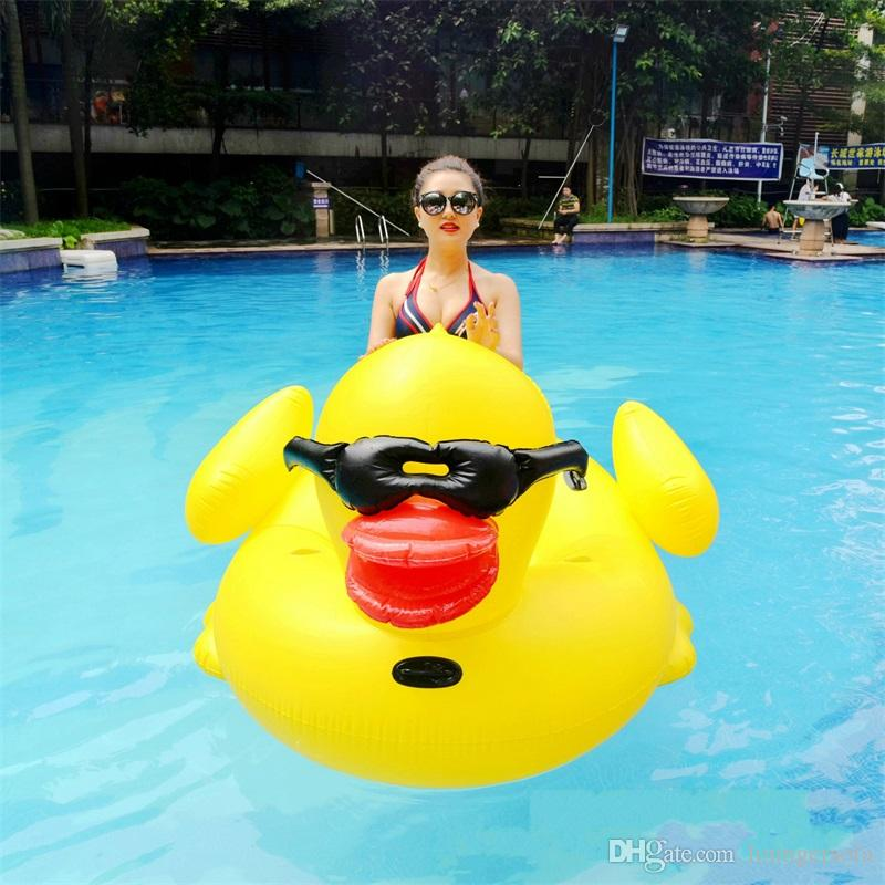 Inflatable Giant StyleRubber Duck Floating Row Ride On Animal Toys Pool Toy Adults Outdoor Summer Infant Swim Ring Swimming Bed 102hmy Y