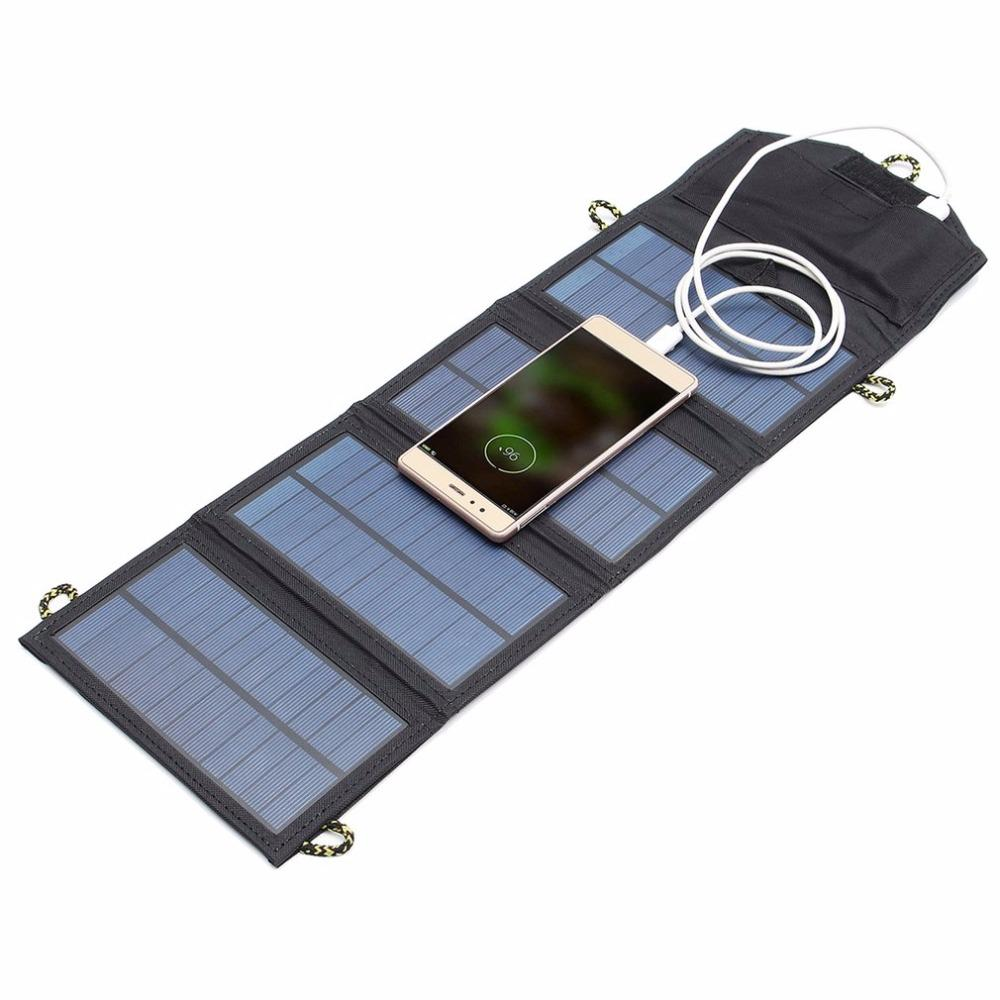 Freeshipping 5V 7W Folding Solar Power Panel USB Travel Camping Portable Battery Charger For Cellphone MP3 Tablet Phone Power Bank