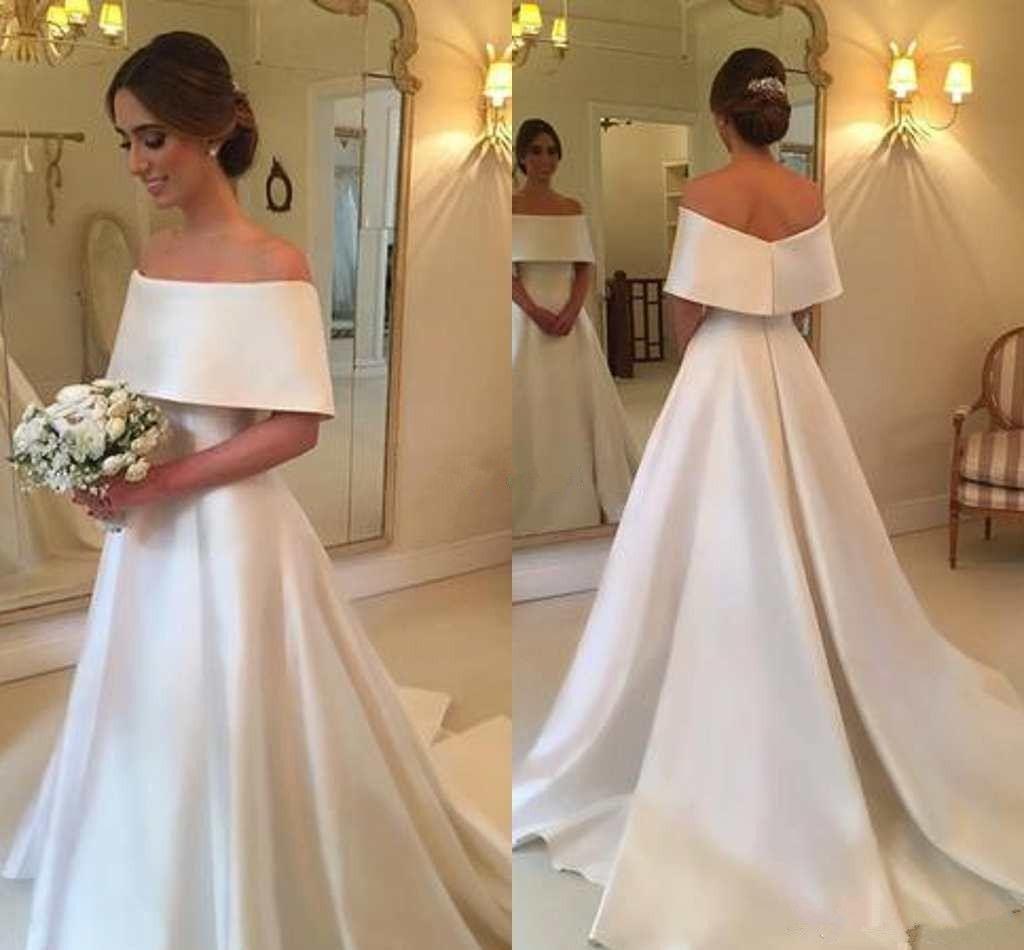 Simple And Elegant Wedding Dresses Boat Neck Three Quarter: Acheter 2018 A Ligne Hors Épaule Simple Robes De Mariée