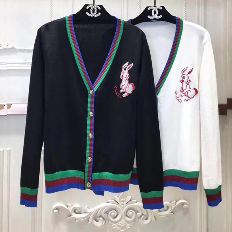 574517f9b4ea2 Women Sweater 2018 New Embroidery Small Rabbit Spelling Color Gold ...