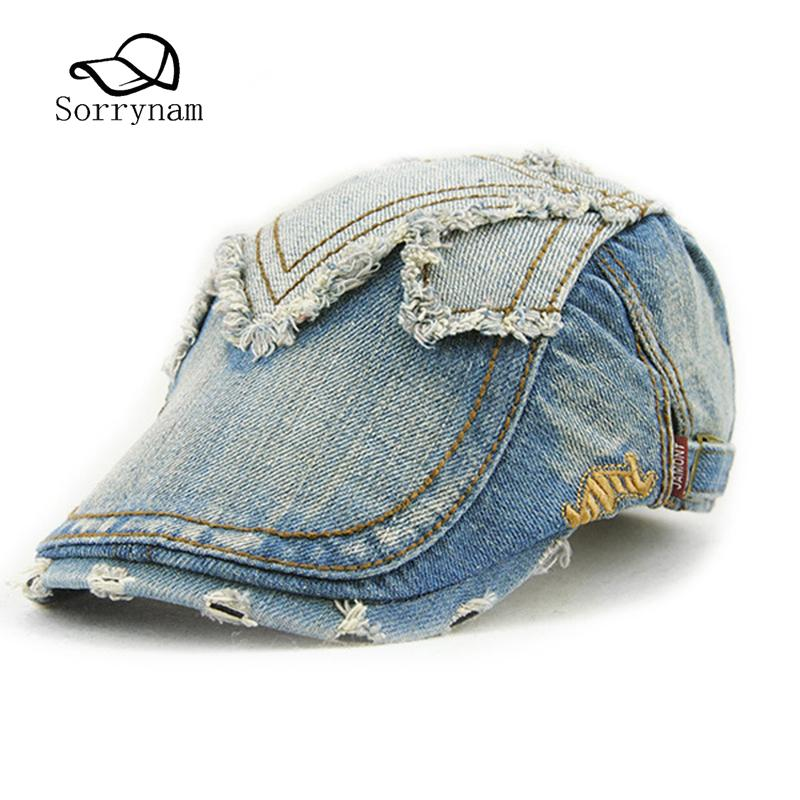 54f1e5f6909ec 2019 Cowboy Cap Unisex New Summer Men Vintage Denim Hat Berets Embroidery  Hat For Womens Mens Fitted Driving Beret Buckle Flat Caps From Juaner