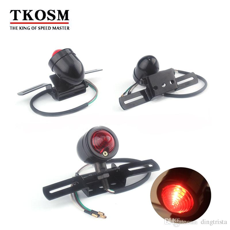الذيل TKOSM للدراجات النارية الأحمر الفرامل لمبة الضوء الخلفي للالمروحية بوبر مخصص 12VCafe متسابق الدراجات النارية بدوره إشارة ضوء الفرامل