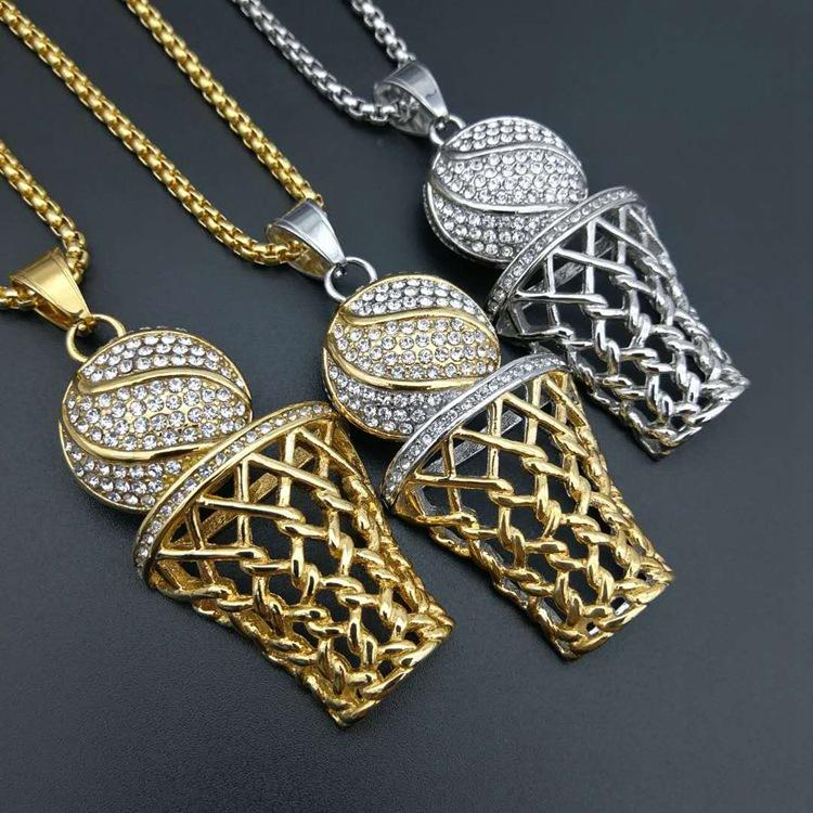 185e8f61c505b Europe and the United States hiphop hip hop movement trend jewelry diamond  necklace pendant gilded basketball net frame