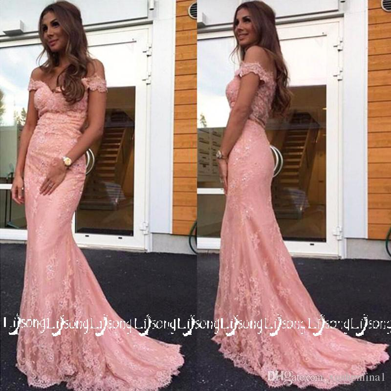 3c8eef00d02ec Pink Lace Off Shoulder Sheer Prom Dress Mermaid Vestido de Festa Party Wear  Evening Dresses Bridesmaid Maxi Gowns Wholesale Sweep Train