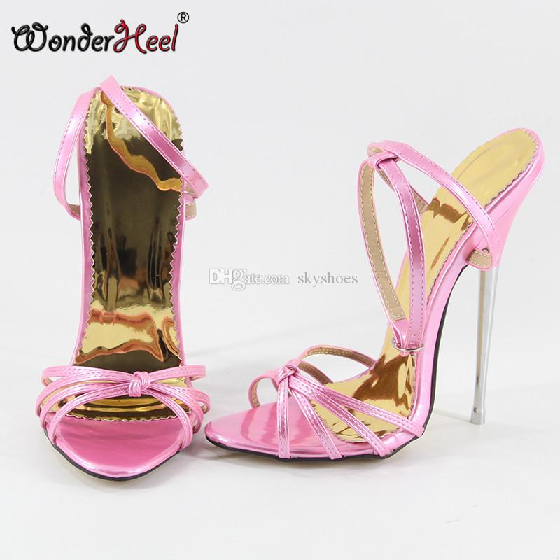 674f919b53a6 Wonderheel 2017 Summer Extreme High Heel 16cm Metal Heel Sexy High Heel  Ankle Strap Black Patent Fashion Show Hot Women Sandals Cheap Shoes Wedge  Sneakers ...