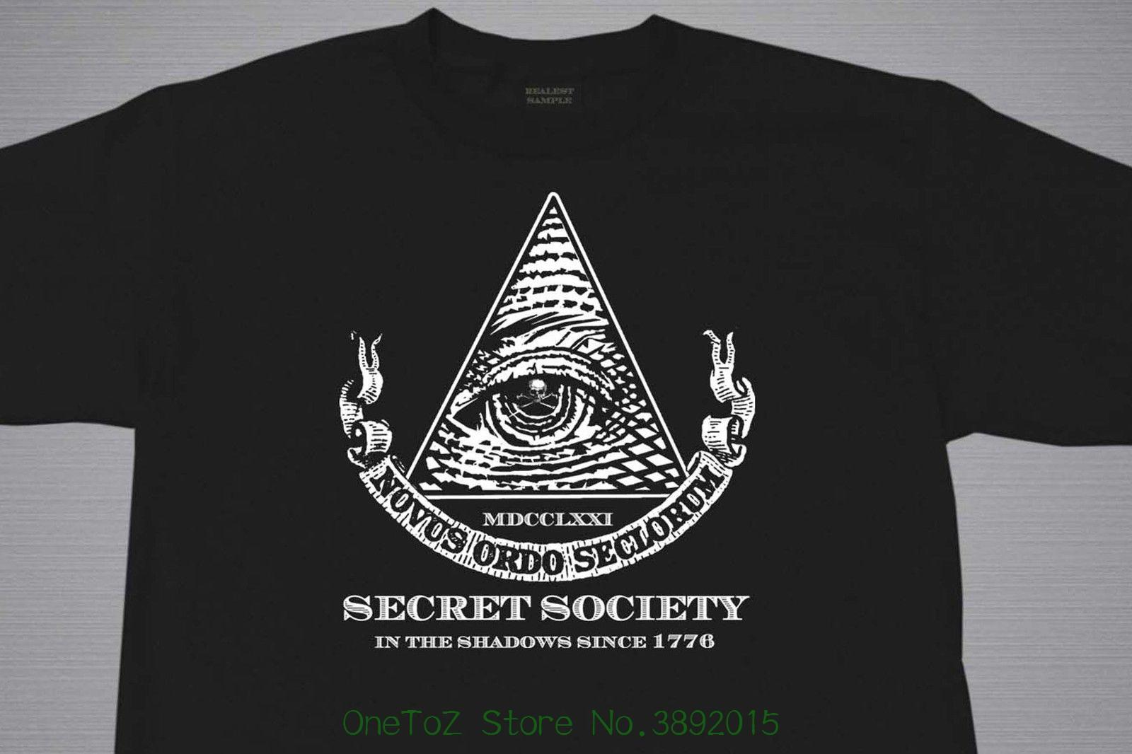 Men s Short Sleeve Tshirt Cotton Illuminati Secret Society New World Order  T Shirt Various Sizes & Colors M - 2xl