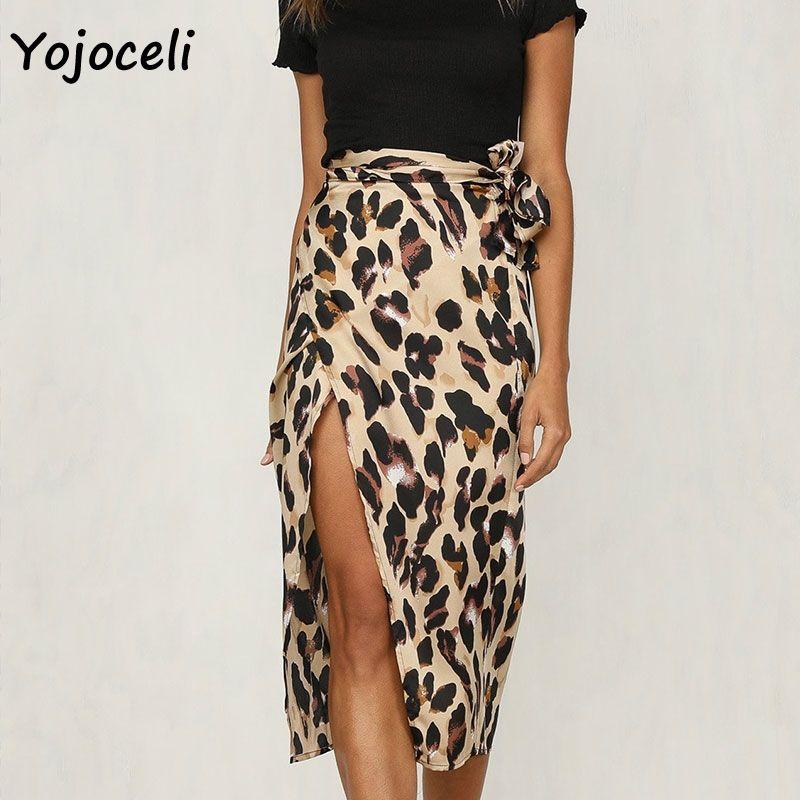 dfb58f7f96bb Yojoceli trendy Leopard Wrap Rock Frauen sexy einteilige Bogen Rock unten  lässig