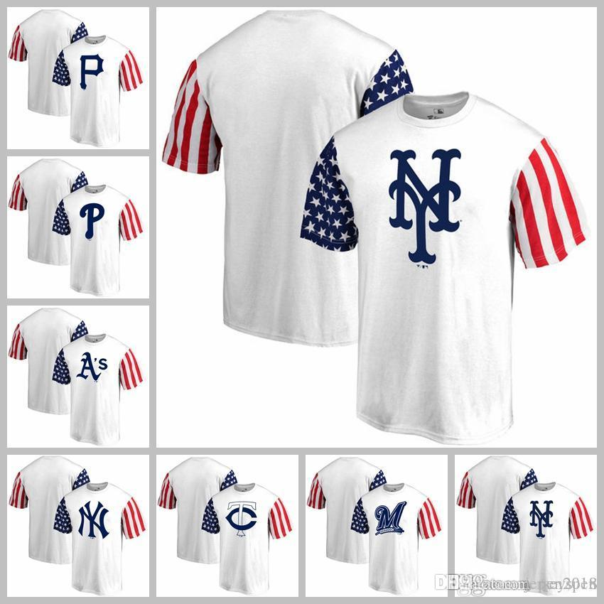 huge selection of 24c97 244f6 Men's Pittsburgh Pirates Philadelphia Phillies Oakland Athletics New York  New York Mets Fanatics Branded Stars & Stripes T-Shir