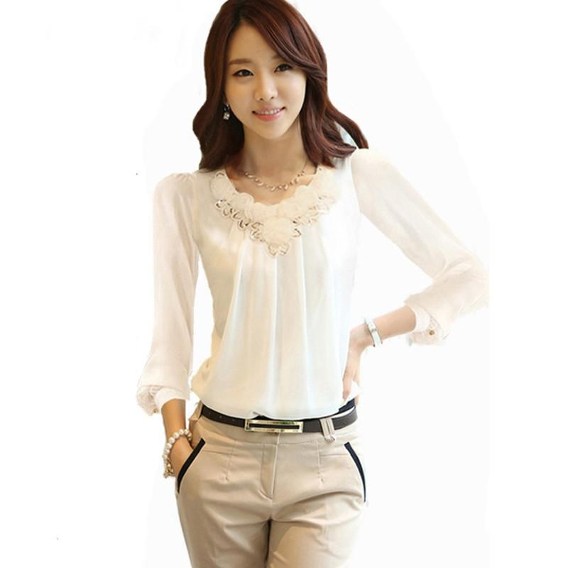 275f3d4a974f1 2018 Sequined Lace Elegant Women Tops Office Lady Long Lantern Sleeve Solid  Color Blouses Plus Size 4XL Slim Shirts Blouse Female From Jilihua