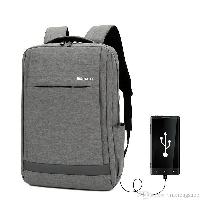 8de754acf886 New Fashion USB 15.6 Inch Laptop Backpack Waterproof Men Women ...