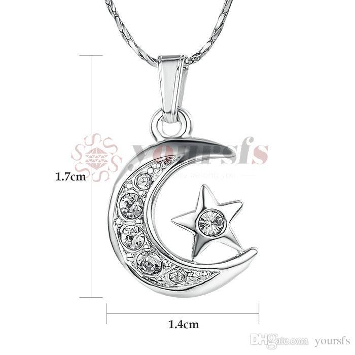 Yoursfs eleganta julklapp 18 k guldpläterad halsband 18 k vit guldpläterad användning kristall måne stjärna hängande halsband för kvinnor smycken