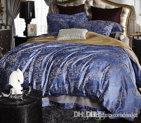 Wholesale Cheaper Jacquard Duvet Cover Set Bedding Cotton Sets Super King Queen Bed Clothing Bed Linen Ropa De Cama Home Textile Full Size Comforters Sets