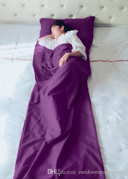 75 * 210 cm Toptan 100% pamuk rahat temiz sağlık Taşınabilir Iç Seyahat Açık Hostel Tren Sac Çuval Kamp Uyku Tulumu
