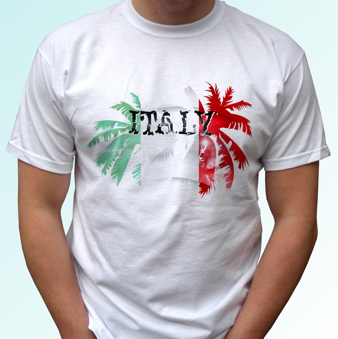 Italy Palm flag - white t shirt holiday top design mens womens kids baby sizes funny gift Short Tops Round Neck Tees short Sleeve T-Shirt