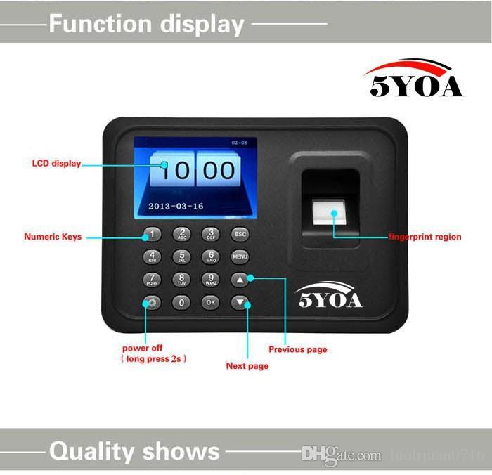 Высокое качество биометрические отпечатков пальцев время посещаемости часы рекордер сотрудник цифровой электронный английский голос читателя машина 5YA01