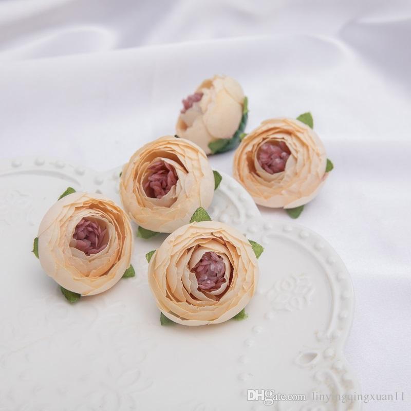 Mini Artificial Chá Rose Bud pequena peônia Camélia Flores cabeça de flor para a decoração da bola de casamento diy artesanato presentes para decoração do partido