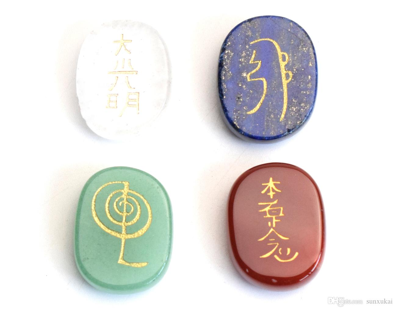 Of 4 Small Size Chakra Healing Crystal Engraved Reiki Symbols 1