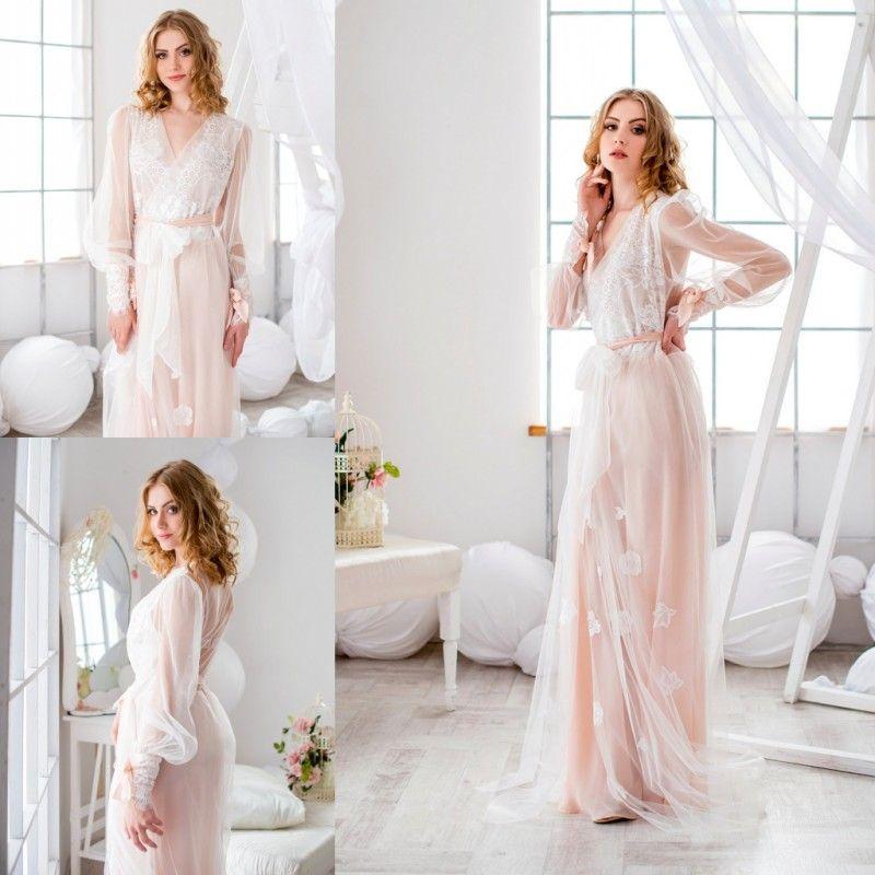 4b84e7c8fb Long Sleeve Wedding Bride Bridesmaid Robe Long Night Robe Bathrobe Peignoir  Female Fashion Dressing Gown For Women Winter Sleep Lace Custom Accessories  For ...