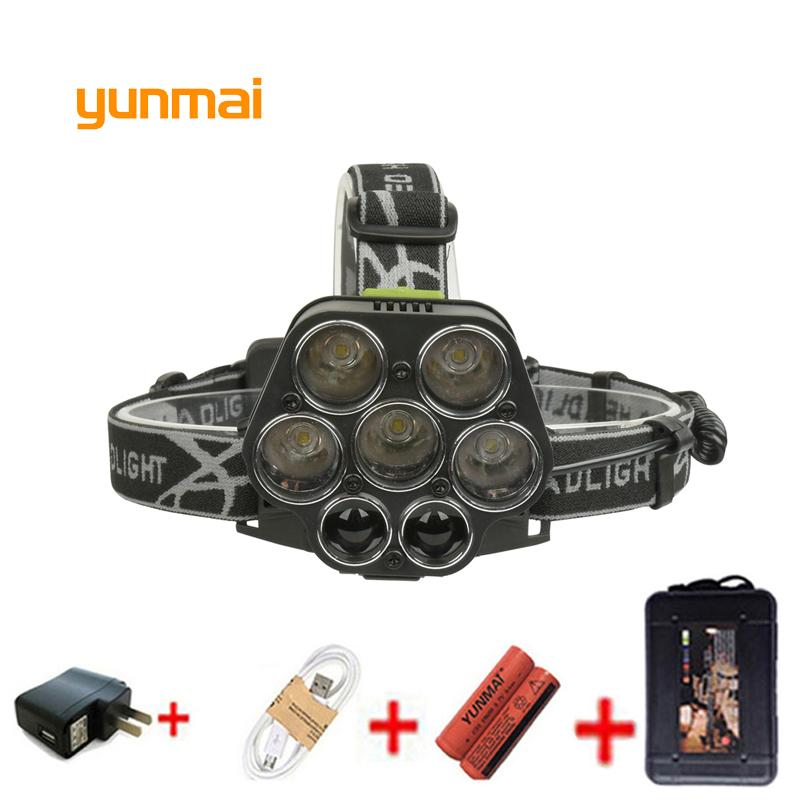 Rechargeable Hike Lampe Xml Camp Mode 7Led Cree Front Xpe Q5 Light T6 Frontale 6 Phare 20000lm Ybyv6gf7