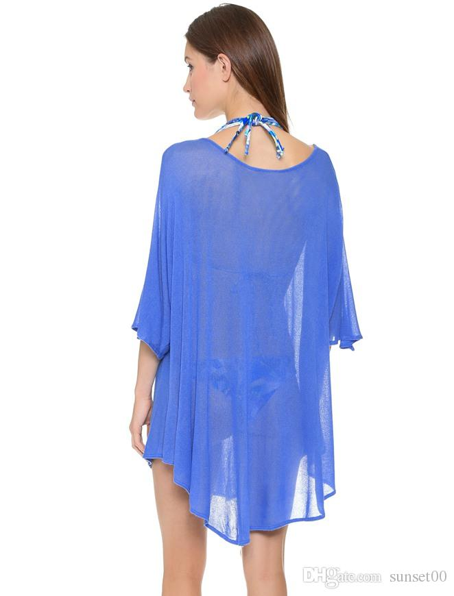 f291359fb6 Casual Women's Summer Loose Relax Beach Playsuits Chiffon Cover Up Ladies  Clothing Sexy Sun Dresses Women Swimwear