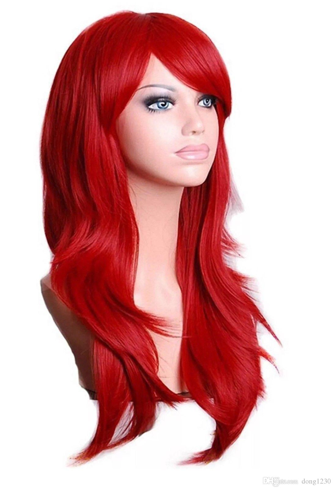 Acquista TopWigy Red Cosplay Parrucche Da Donna Lunghe Ondulate Sintetiche  Colorate Capelli Ariel Custome A  19.08 Dal Dong1230  b4b3ed6f1e1