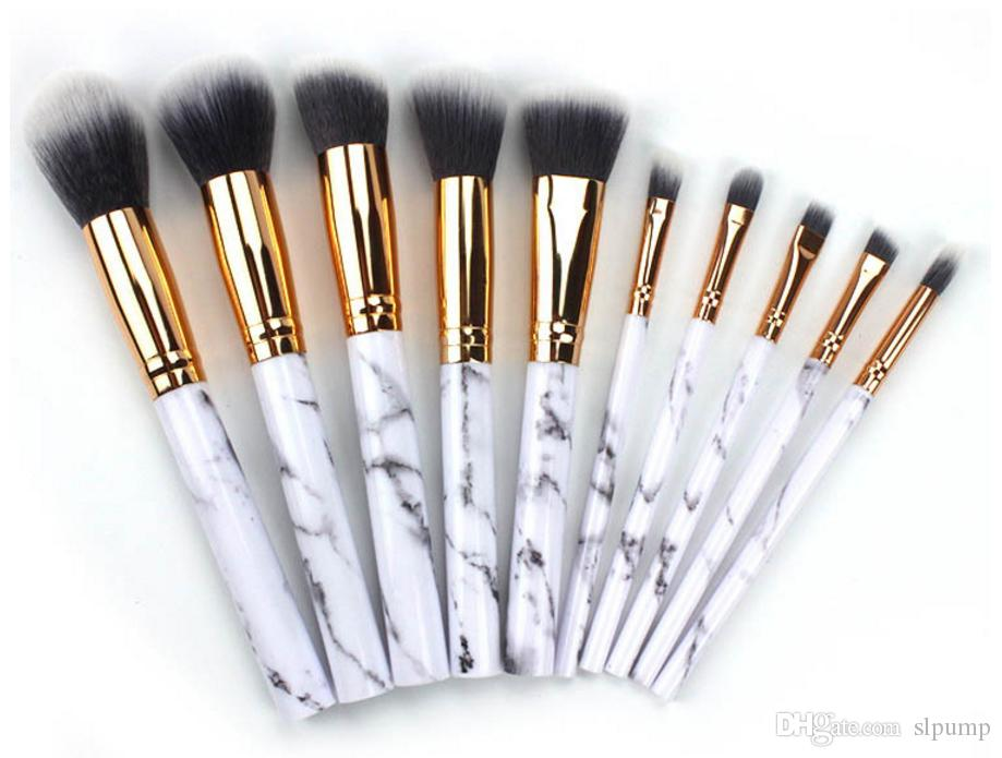 10 teile / satz marmor Make-Up Pinsel 10 stücke Professionelle Kosmetik Pinsel Kit sets Nylon Haar Holz Erröten Pulver Augenbraue Eyeliner Highlight Concealer