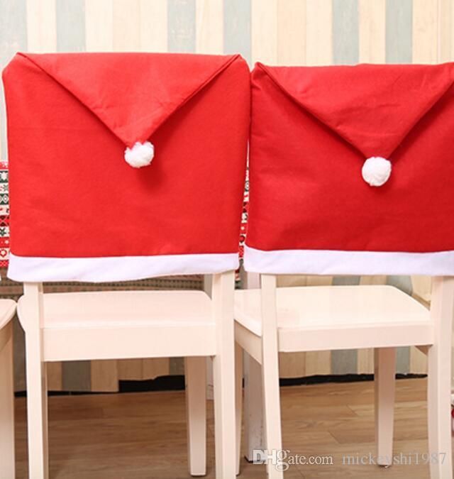 Kırmızı dokunmamış Noel sandalye seti Noel masa yumuşak hissediyorum dokunma koltuk kapakları holidday dekor malzemeleri