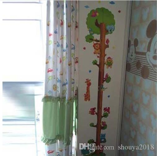 Kids Child Height Chart Measure Tape Wall Stickers Natural Animal Tree Vinyl Wallpaper House Decorative Decals Removeable