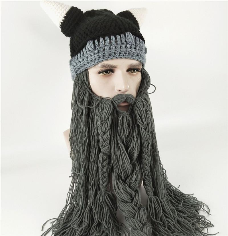 cd94e894c96 2019 Halloween Funny Men S Winter Hat Barbarian Vagabond Viking Beard HatS  Horn Handmade Mustache Braid Beanie Warm Wool Knitting Caps Mask Cap From  ...