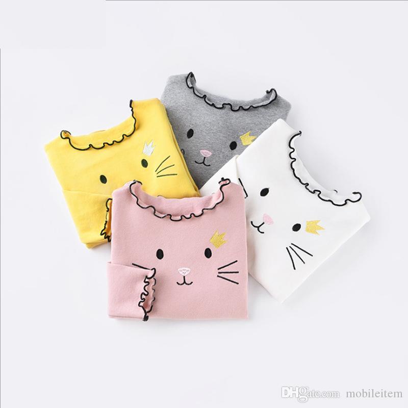 Kids Pullover Sweaters Cute Cartoon Cat Long Sleeve T Shirt Girl ...