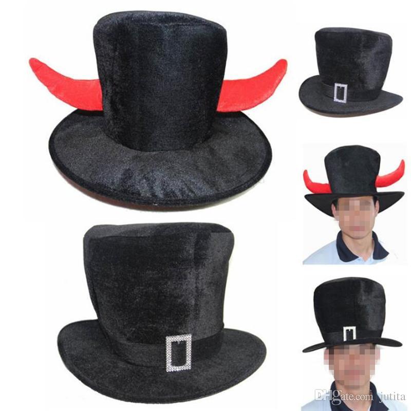 Compre Sombrero De Copa Negro Adultos Hombres Cosplay Diablo Cuerno  Sombreros Gorras Dress Up Props Fiesta De Disfraces De Halloween  Suministros A  49.75 ... 4ed9694c216