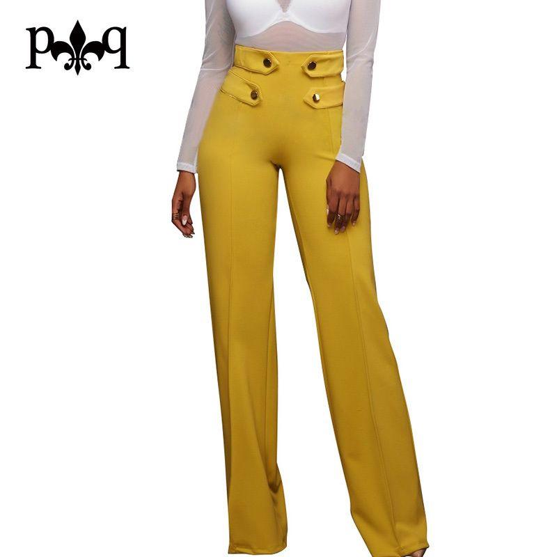 adc01e8f2d Hilove Women Pantaloni a gamba larga Casual da ufficio da donna a vita alta  Pantalone Design donna Pantalone lungo autunno Pantalone palazzo Femme ...